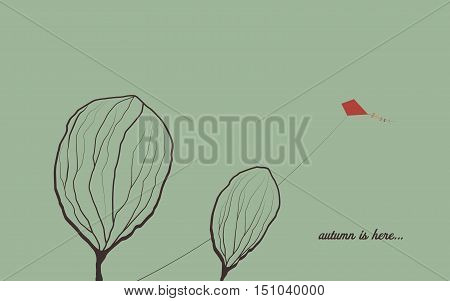Autumn background with trees in wind. Melancholic emotion symbol vector wallpaper. Kite flying in the sky. Eps10 vector illustration.