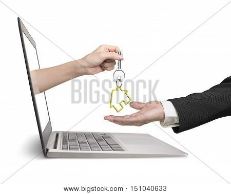 Woman Hand From Laptop Giving House Key To Man Hand
