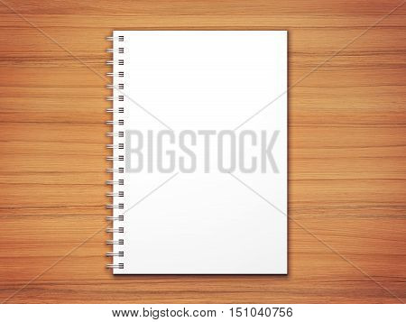 White blank spiral notepad on wooden desk texture with vignette. Photorealistic 3D rendering mockup.