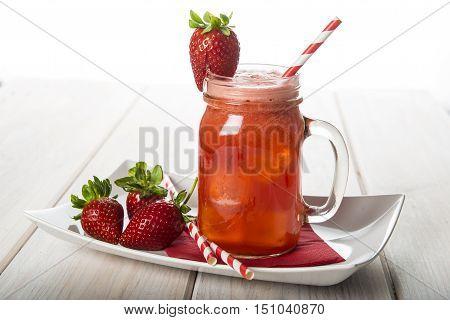 Strawberry Smoothie In A Glass Jar