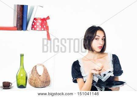 Young Girl Parlormaid With Apple