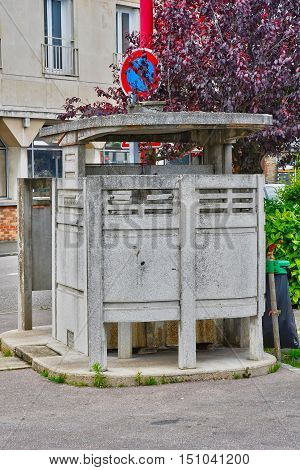 Neufchatel en Bray France - june 23 2016 : a public toilet