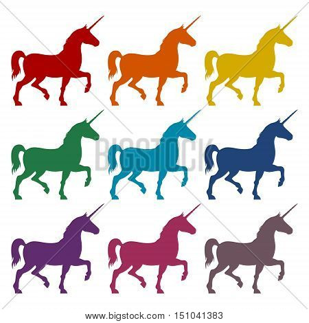 Silhouette of Unicorn Horse icons set on white background