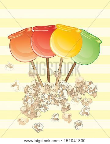 an illustration of popular sweet candy apples on a yellow striped background