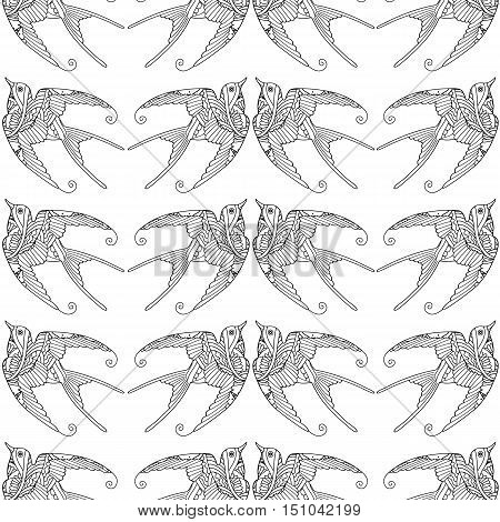 Seamless pattern with ornamental swallow bird flying hand drawn isolated on white background. Can be used for coloring book for adult and older children. Vector illustration.
