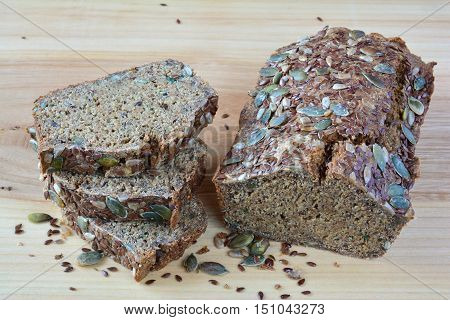 Chrono organic unleavened bread with various seeds pumpkin sunflower flax seeds delicious and very healthy