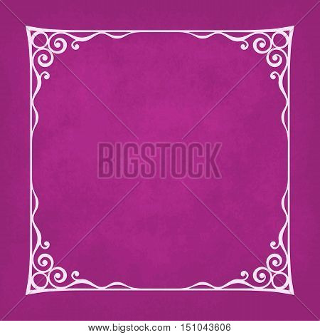 Decorative vintage frame silhouette with separated corners. You can easily change aspect ratio of frame. Illustration has violet grunge background.