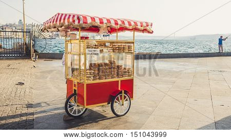 ISTANBUL TURKEY - SEPTEMBER 10-13 2016: Street cart vending selling breads.