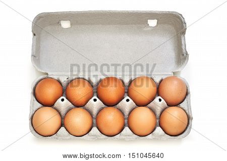 Chicken eggs in pulp egg carton isolated on white background. Top view