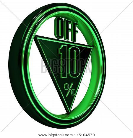 Green metal ten Percent off on black