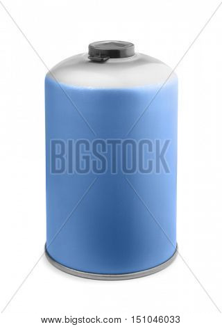 Butane camping gas cartridge isolated on white