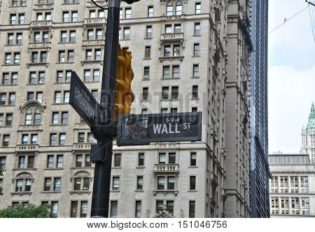 Wall Street street sign in Manhattan NYC