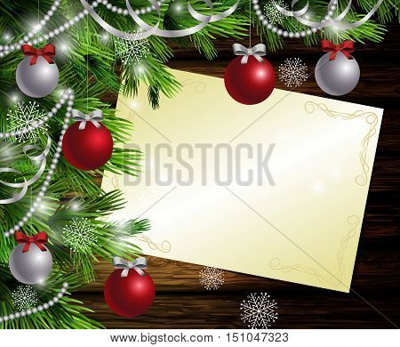 Christmas New Year design dark wooden background with christmas tree and silver and red balls and wish list