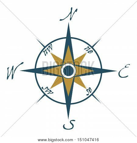 Compass Icon. Compass Logo On White Background. T-shirt Design Consept. Vector Illustration Sign.