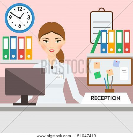 Receptionist administrator manager woman. Friendly smiling girl on hotel or other reception. Vector illustration