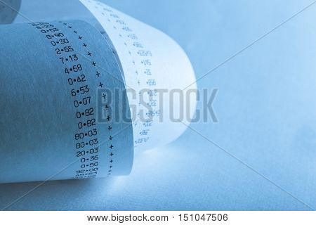 Calculator Paper Tape Rolled Up / Paper Roll of Numbers