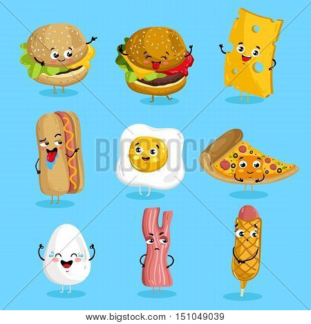 Cartoon funny fast foods characters isolated vector illustration. Funny food face icon. Fast food emoji. Funny burger, laughing cheese. Cartoon emoticon face of fast food. Gloomy bacon, sausage shy. Funny food cocept and smiling cute food. Cartoon food.