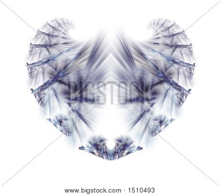 Abstract blue fractal heart of ice over white poster