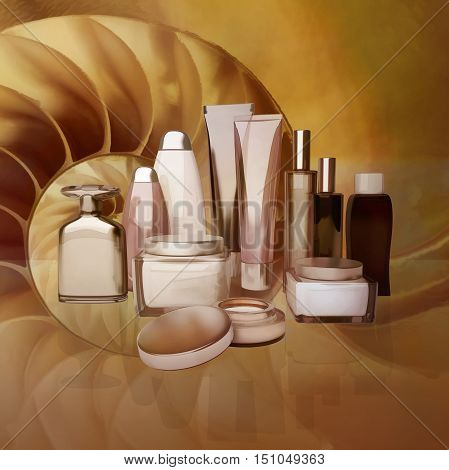 Daily beauty care cosmetic. Face cream eye cream serum and lip balm. 3D illustration