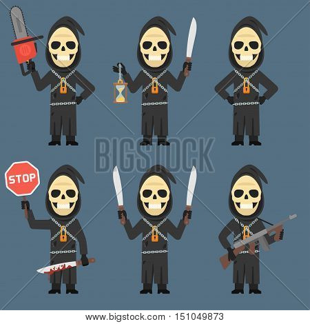 Vector Illustration, Death Holds Hourglass Machete Weapons Chainsaw, Format EPS 8