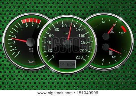 Dashboard: speedometer fuel gauge tachometer. Vector illustration