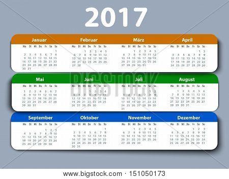 Calendar 2017 year German. Week starting on Monday. eps