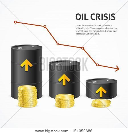 Oil Production Industry Crisis Concept Downtrend Graph. Vector illustration