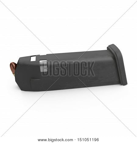 Pistol magazine for 9mm bullets isolated on white background. 3D illustration