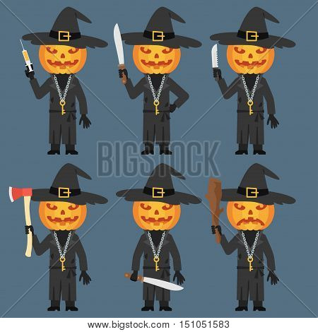 Vector Illustration, Pumpkin Holds Baton Knife Machete Ax Syringe, Format EPS 8