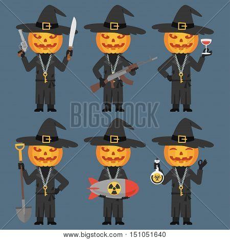 Vector Illustration, Pumpkin Holds Weapons Machetes Shovel Poison Bomb, Format EPS 8