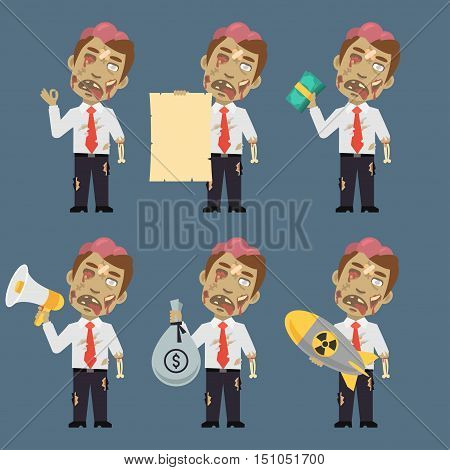 Vector Illustration, Zombie Holds Bomb Paper Money Megaphone, Format EPS 8