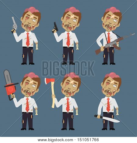 Vector Illustration, Zombie Holds Weapons Ax Machete Chainsaw, Format EPS 8