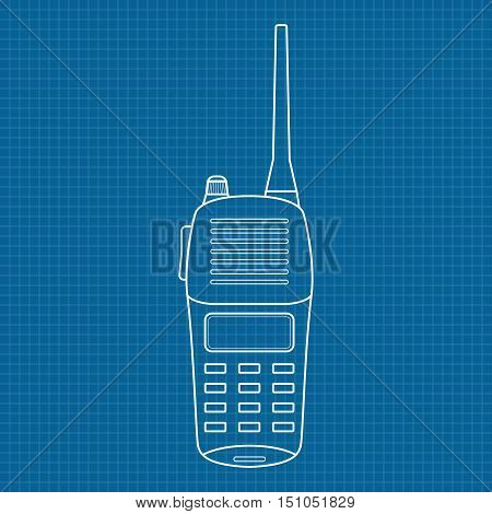 Radio transceiver. Vector illustration on blueprint background