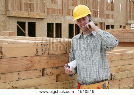 Construction Worker On Phone
