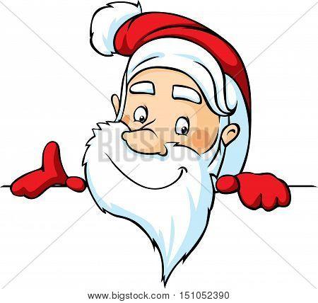 santa peeking around a white surface - vector illustration cartoon