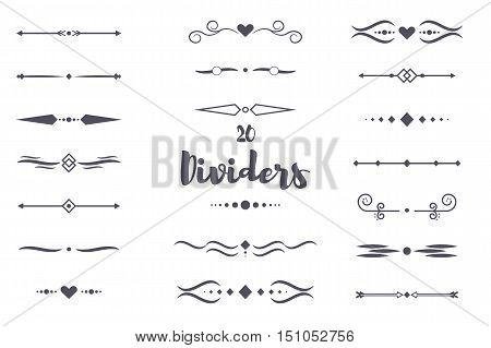 Collection of vector dividers calligraphic style. Vector dividers border frame design decorative illustration element. Set page decoration retro vintage ornament vector dividers calligraphy pattern.