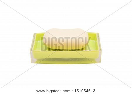 Soap on a soap dish on white background