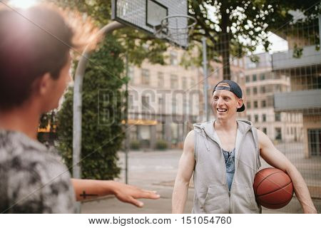 Happy Young Streetball Players On Court.