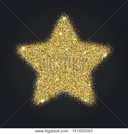 Icon of Five-pointed star with gold sparkles and glitter, glow light confetti, bright sequins, sparkle tinsel, shimmer dust. Five-pointed star sign isolated on black background