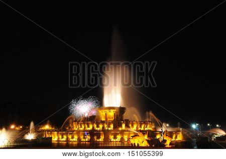 Buckingham Fountain, Fireworks, Grant Park, Chicago, Illinois
