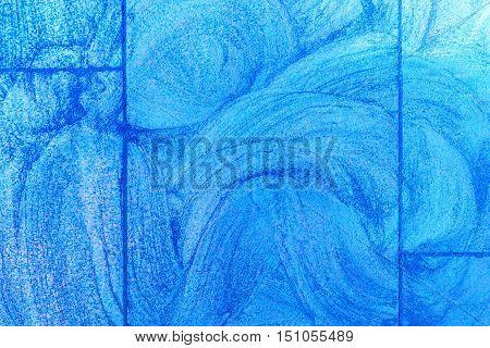 Shades of blue sidewalk chalk drawing background