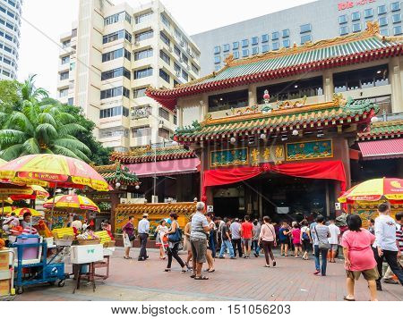 SINGAPORE, REPUBLIC OF SINGAPORE - JANUARY 10, 2014: Stree view near Kwan Im Thong Hood Cho Temple, Singapore