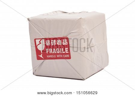 Postal package box or shipping box with a