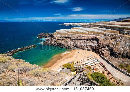 small cozy Abama beach and banana plantations on the background Tenerife Canary islands