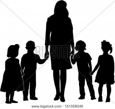 illustration with children and woman silhouettes collection isolated on white background