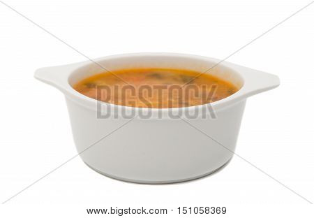soup appetizer, fresh, foodstuff isolated on white background