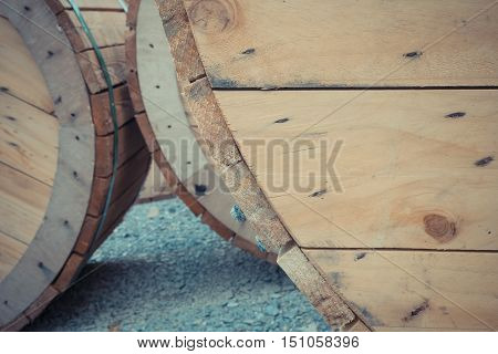Big Wooden Cable Wheel Roll