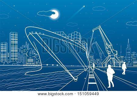 Cargo ship loading, boat on the water, sea harbor, transportation illustration, people walk along the promenade, vector design art
