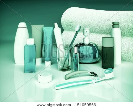 Set for morning hygiene. Toothpaste brush soap balm tooth thread. 3D illustration