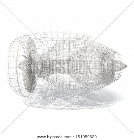 Grid jet engine isolated on white with shadow. 3d rendering.